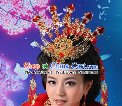 Traditional Handmade Chinese Classical Hair Accessories Tang Dynasty Imperial Empress Phoenix Coronet Hairpins for Women