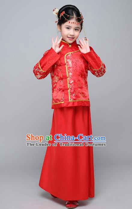 Traditional Ancient Chinese Qing Dynasty Children Princess Costume, China Manchu Bride Embroidered Clothing for Kids