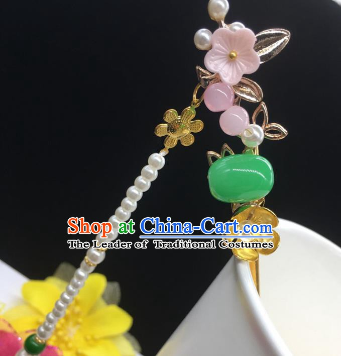 Traditional Handmade Chinese Ancient Classical Hair Accessories Hanfu Hairpins Tassel Step Shake for Kids
