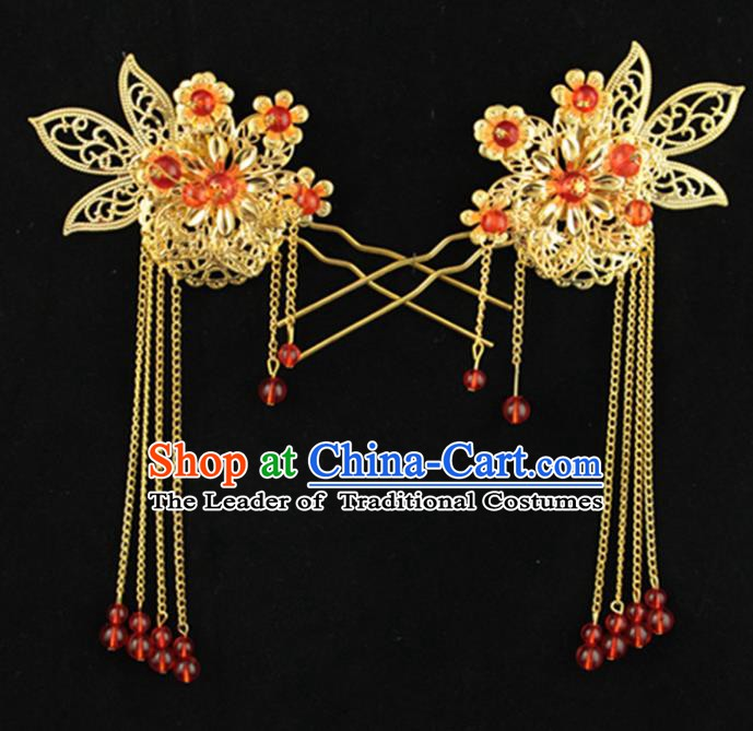 Traditional Handmade Chinese Ancient Classical Hair Accessories Hanfu Hairpins Red Beads Tassel Step Shake for Kids