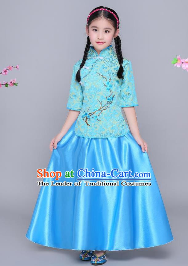 Traditional Chinese Republic of China Children Clothing, China National Embroidered Wintersweet Blue Blouse and Skirt for Kids