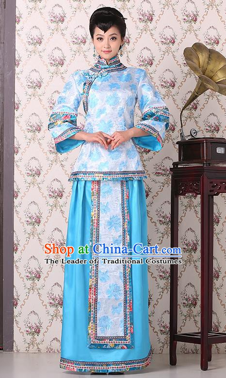 Traditional China Qing Dynasty Nobility Dowager Costume, Chinese Ancient Gentlewoman Embroidery Blue Xiuhe Suit Clothing