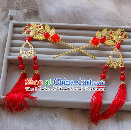 Traditional Handmade Chinese Ancient Classical Hair Accessories Hanfu Hairpins Red Tassel Step Shake for Kids
