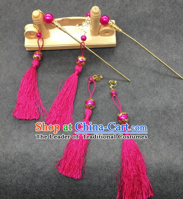 Traditional Handmade Chinese Ancient Classical Hair Accessories Hanfu Hairpins Rosy Tassel Step Shake for Kids