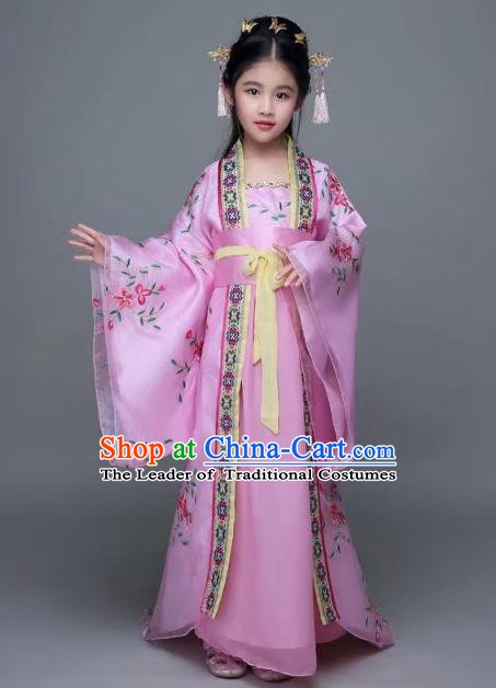Traditional Chinese Tang Dynasty Palace Lady Pink Costume, China Ancient Imperial Concubine Hanfu Trailing Dress for Kids