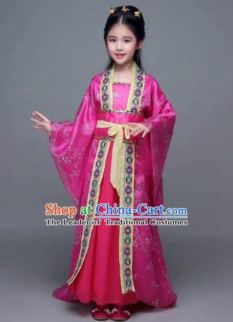 Traditional Chinese Tang Dynasty Palace Lady Rosy Costume, China Ancient Imperial Concubine Hanfu Trailing Dress for Kids