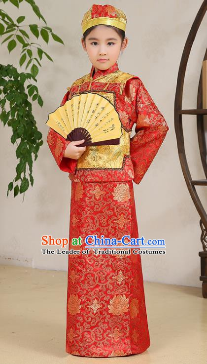 Traditional Chinese Qing Dynasty Nobility Childe Costume Yellow Mandarin Jacket, China Manchu Prince Embroidered Clothing for Kids