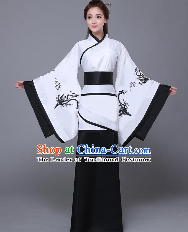 Traditional Chinese Han Dynasty Palace Lady Costume, China Ancient Princess Embroidered Hanfu Black Curving-front Robe for Women