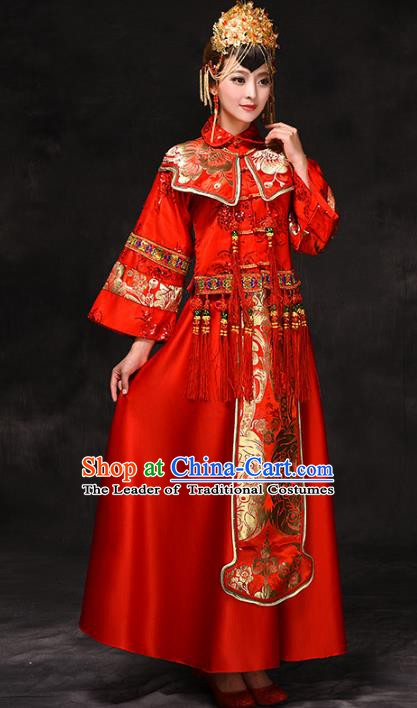 Chinese Traditional Wedding Xiuhe Suit Costume, China Ancient Bride Tang Suit Toast Clothing for Women