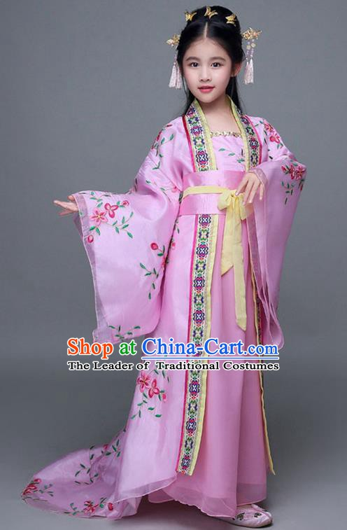 Traditional Chinese Ancient Imperial Consort Pink Costume, China Tang Dynasty Palace Princess Hanfu Embroidered Clothing for Kids