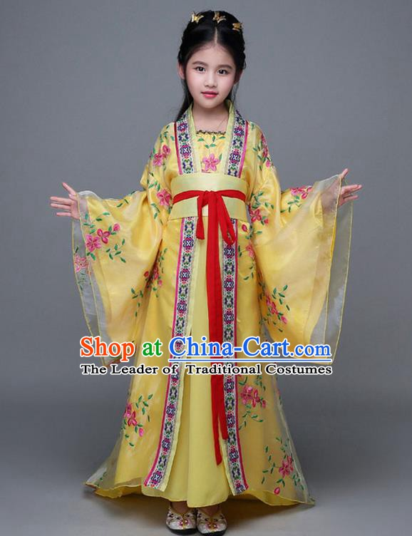 Traditional Chinese Ancient Imperial Consort Yellow Costume, China Tang Dynasty Palace Princess Hanfu Embroidered Clothing for Kids