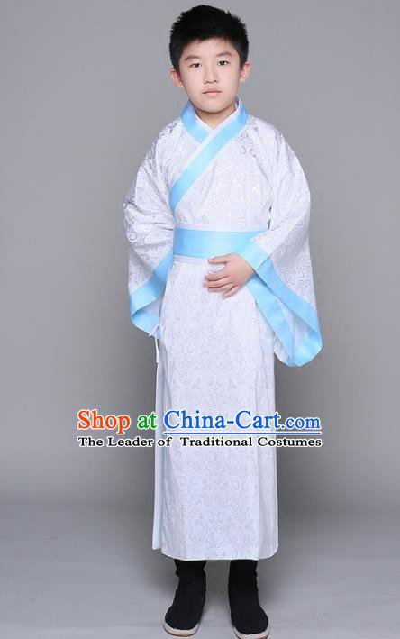 Traditional Chinese Han Dynasty Minister Costume, China Ancient Chancellor Hanfu Clothing for Kids