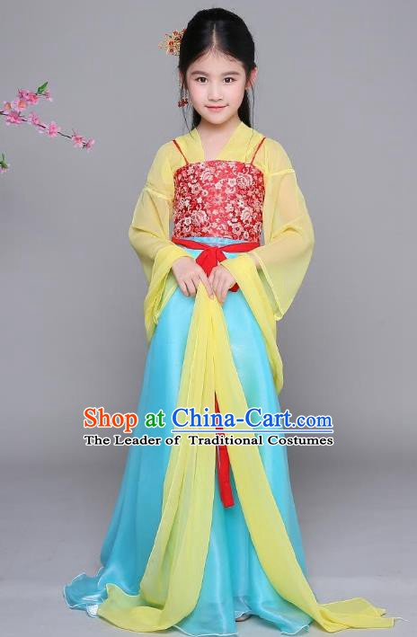 Traditional Chinese Tang Dynasty Princess Costume, China Ancient Palace Lady Hanfu Clothing for Kids