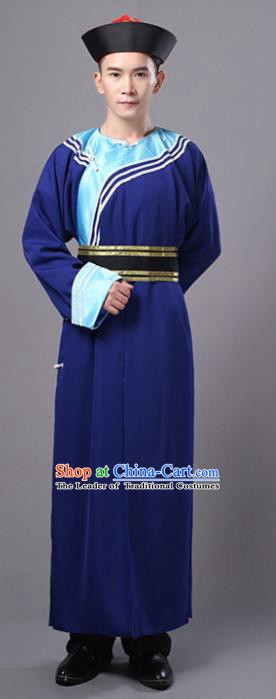 Traditional Chinese Qing Dynasty Court Eunuch Costume, China Manchu Imperial Bodyguard Blue Robe for Men