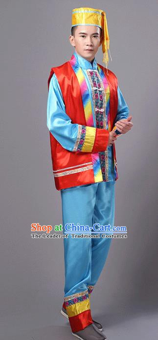 Traditional Chinese Miao Nationality Dance Costume, Hmong Folk Dance Minority Embroidery Clothing for Men
