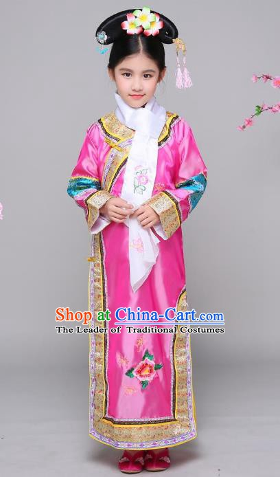 Traditional Chinese Qing Dynasty Children Princess Costume, China Manchu Palace Lady Embroidered Clothing for Kids