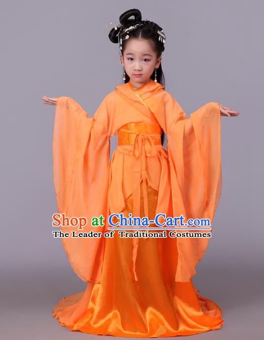 Traditional Chinese Tang Dynasty Palace Lady Orange Costume, China Ancient Imperial Consort Hanfu Trailing Dress Clothing for Kids
