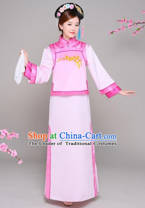 Traditional Chinese Qing Dynasty Manchu Princess Pink Costume, China Ancient Palace Lady Embroidered Clothing for Women