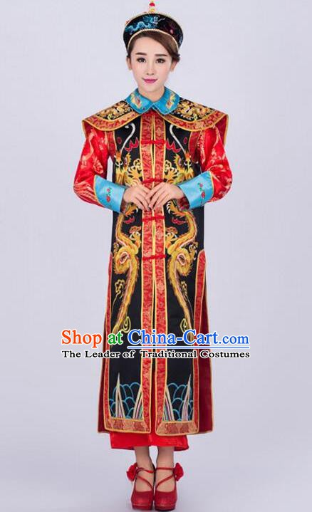 Traditional Ancient Chinese Qing Dynasty Empress Costume, China Manchu Palace Queen Embroidered Black Clothing for Women