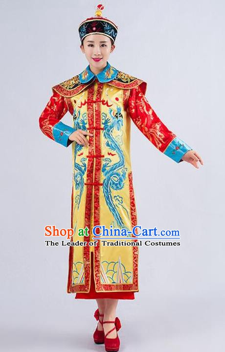 Traditional Ancient Chinese Qing Dynasty Empress Costume, China Manchu Palace Queen Embroidered Yellow Clothing for Women