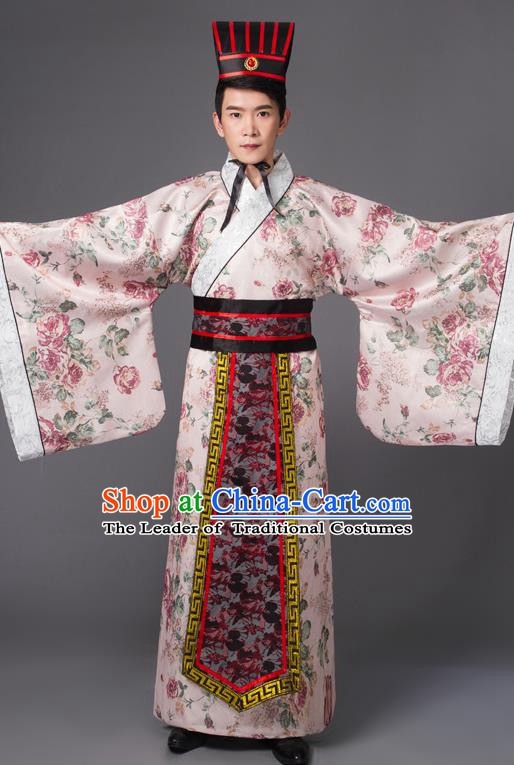 Traditional Chinese Han Dynasty Prime Minister Costume, China Ancient Chancellor Hanfu Pink Embroidered Robe Clothing for Men
