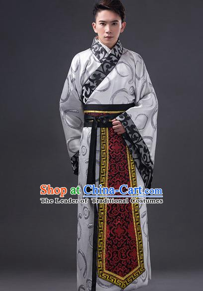 Traditional Chinese Han Dynasty Minister Costume, China Ancient Chancellor Hanfu Grey Embroidered Robe Clothing for Men