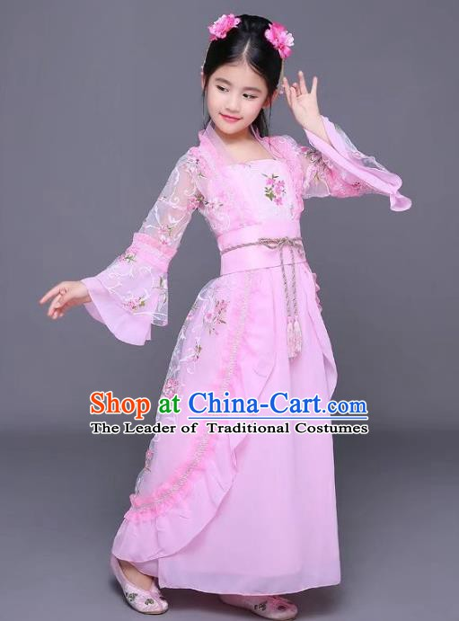 Traditional Chinese Tang Dynasty Children Princess Costume, China Ancient Palace Lady Hanfu Dress Clothing for Kids