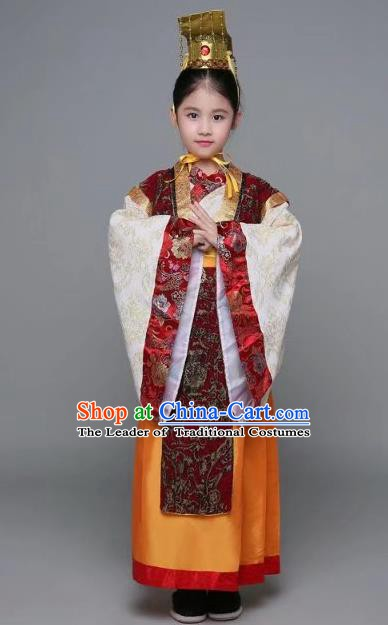 Traditional Chinese Han Dynasty Prime Minister Costume, China Ancient Emperor Hanfu Embroidered Clothing for Kids