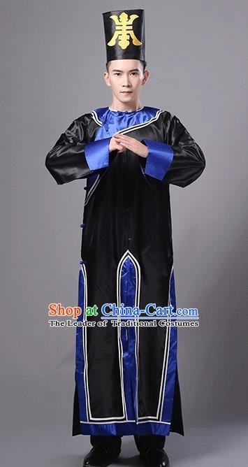 Traditional Chinese Qing Dynasty Manchu Eunuch Costume, China Ancient Cosplay Zombie Black Robe Clothing for Kids