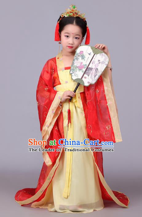 Traditional Ancient Chinese Tang Dynasty Princess Costume, China Ancient Imperial Consort Embroidered Trailing Clothing for Kids