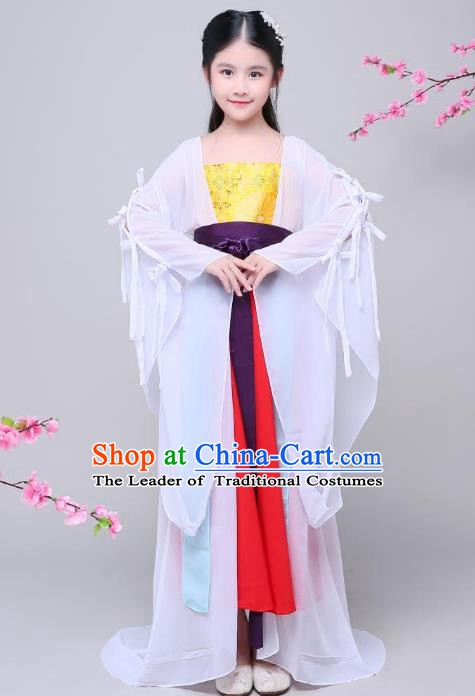 Traditional Chinese Ancient Fairy Costume, China Tang Dynasty Imperial Princess Embroidered Clothing for Kids