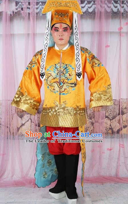 Chinese Beijing Opera Takefu Costume Yellow Embroidered Robe, China Peking Opera Imperial Bodyguard Embroidery Gwanbok Clothing