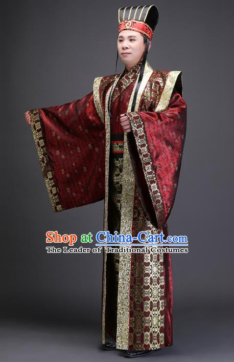 Traditional Chinese Han Dynasty Prime Minister Costume, China Ancient Chancellor Hanfu Clothing for Men