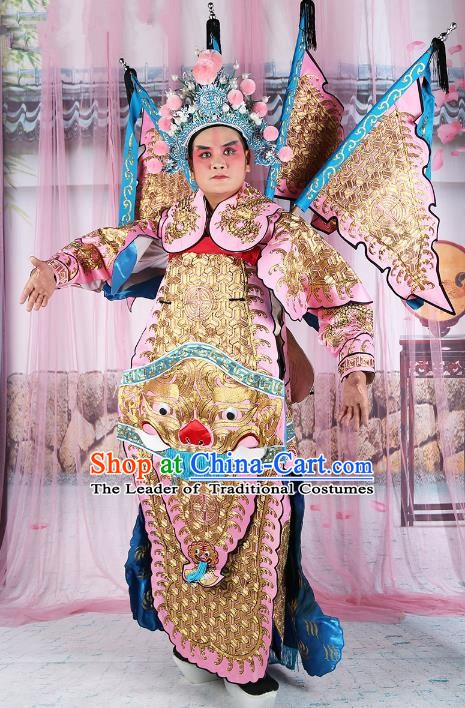 Chinese Beijing Opera General Costume Pink Embroidered Armour, China Peking Opera Military Officer Embroidery Gwanbok Clothing