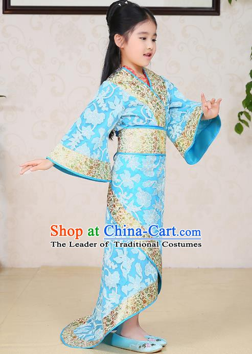 Traditional Chinese Han Dynasty Palace Lady Costume Blue Curving-front Robe, China Ancient Princess Hanfu Clothing for Kids