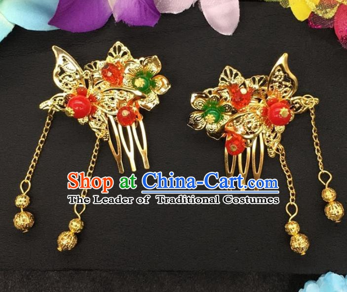 Traditional Handmade Chinese Classical Hair Accessories Butterfly Tassel Hair Comb Hairpins for Women