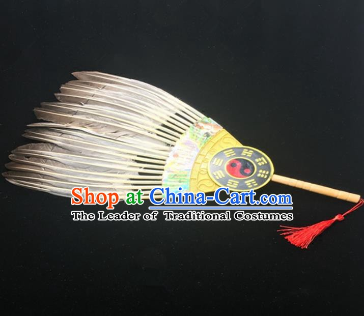 Traditional Handmade Chinese Feather Fans Zhuge Liang Fan for Men