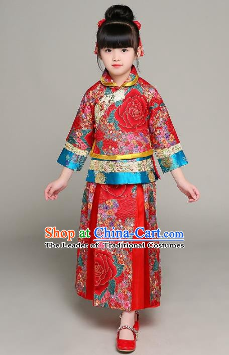 Traditional Chinese Ancient Nobility Lady Costume, China Qing Dynasty Palace Lady Xiuhe Suit Clothing for Kids
