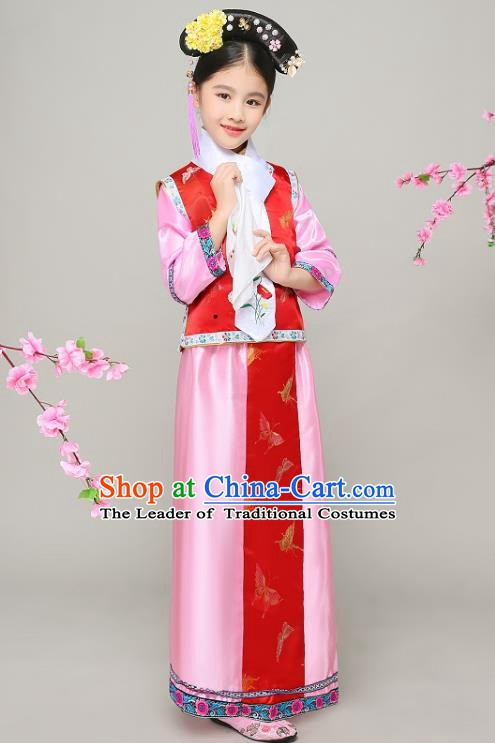 Traditional Chinese Qing Dynasty Court Princess Costume, China Manchu Palace Lady Red Clothing for Kids