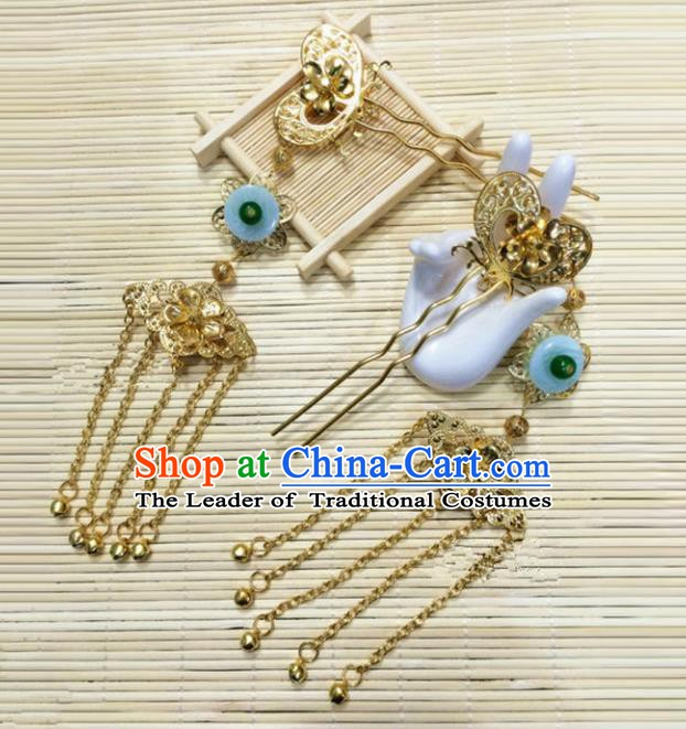 Traditional Handmade Chinese Classical Hair Accessories Hanfu Hairpins Tassel Step Shake Headwear for Women
