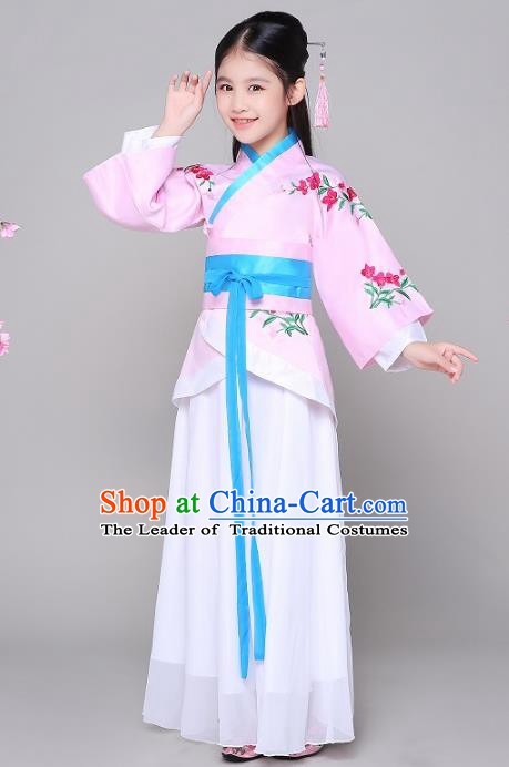 Traditional Chinese Han Dynasty Princess Costume, China Ancient Palace Lady Embroidered Clothing for Kids