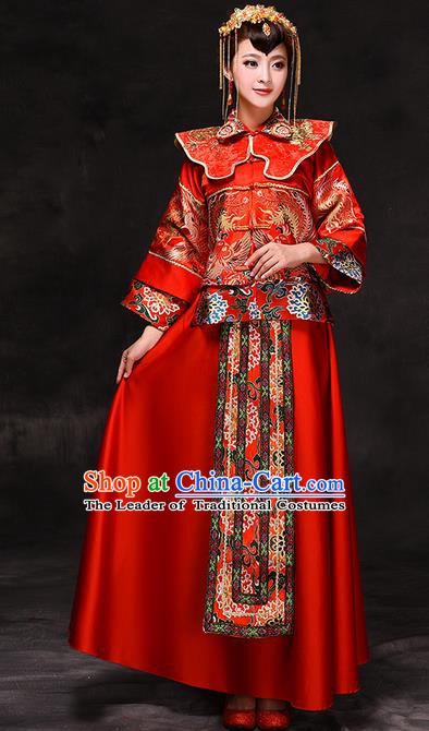 Chinese Traditional Wedding Xiuhe Suit Costume China Ancient Bride Embroidered Toast Clothing for Women