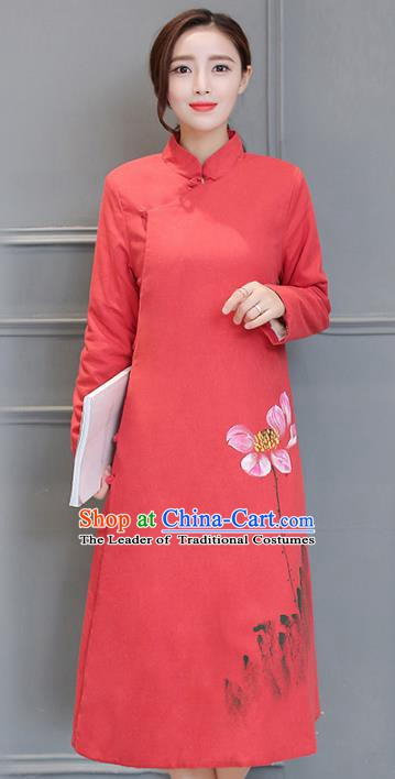 Traditional Chinese National Costume Hanfu Red Linen Qipao Dress, China Tang Suit Cheongsam for Women