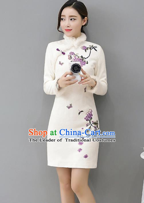 Traditional Chinese National Costume Hanfu White Embroidered Qipao Dress, China Tang Suit Cheongsam for Women