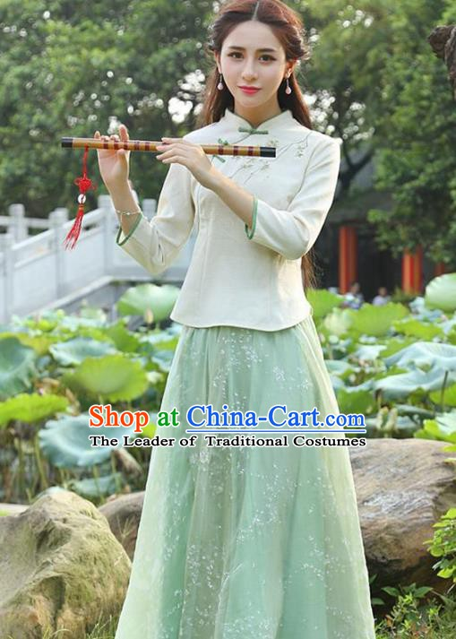 Traditional Chinese National Costume Hanfu Embroidery Blouse, China Tang Suit Cheongsam Upper Outer Garment Shirt for Women
