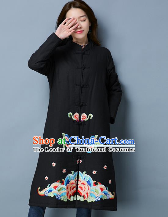 Traditional Chinese National Costume Hanfu Embroidered Coats, China Tang Suit Black Dust Coat for Women