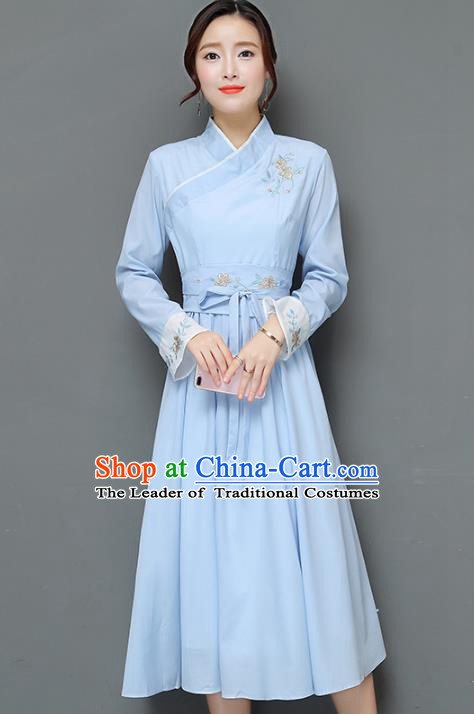 Traditional Chinese National Costume Hanfu Embroidered Blue Dress, China Tang Suit Cheongsam for Women