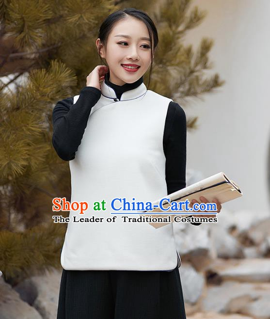 Traditional Chinese National Costume Hanfu Slant Opening White Wool Vests, China Tang Suit Waistcoat for Women