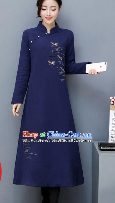 Traditional Chinese National Costume Hanfu Embroidered Navy Qipao, China Tang Suit Cheongsam Dress for Women