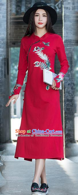 Traditional Chinese National Costume Hanfu Embroidered Peony Red Qipao, China Tang Suit Cheongsam Dress for Women